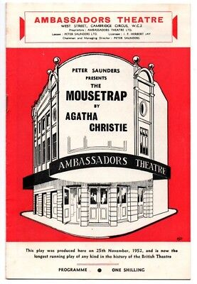 Ambassadors Theatre Mousetrap By Agatha Christie 1960's Programme - Longest run
