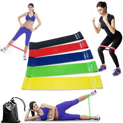 5 Resistance Bands Loop Latex Set Exercise Workout Sports Fitness Home Gym Yoga
