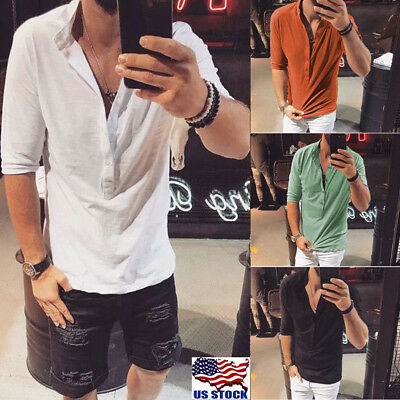 Men Slim Fit V-neck Button Short Sleeve Muscle Shirt Stylish Tops Blouse Fashion