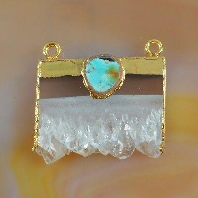 Rare Amethyst Druzy Slice & Genuine Turquoise Connector Gold Plated B076369