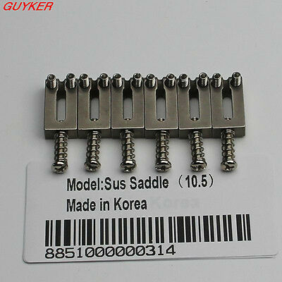 New Stainless Set Of  6 Steel Bridge Saddles 10.5MM For Tremolo Guitar Bridges