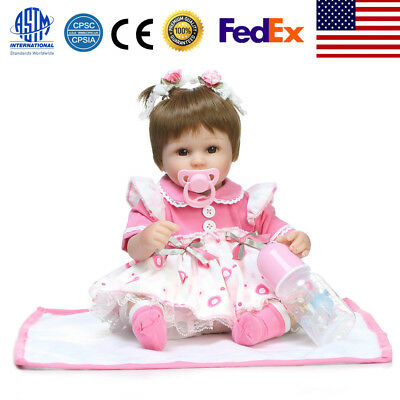 16inch Reborn Lovely Play House Simulation Pigtails Baby Doll Toy  w/Clothes US
