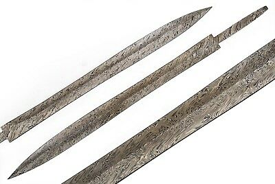 "Eh Damascus Steel Long Leaf Hand Forged 24"" Double Edge Blank Blade Sword 343"