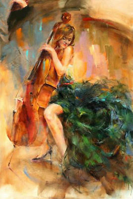 CHOP289 100% hand-painted home decor music girl art  oil painting on canvas