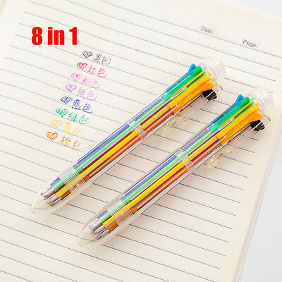 Multi-color 8 in 1 Color Ballpoint Pen Ball Point Pens Kids School Office Supply