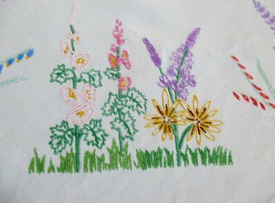 Vintage Tablecloth Hand Embroidered Small Flowers-Linen