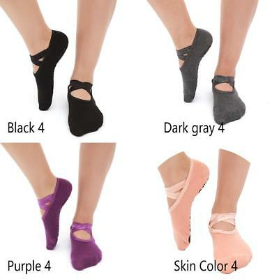Women Yoga Fitness Non-Slip Ballet Dance Socks Toeless Backless Solid Color #r