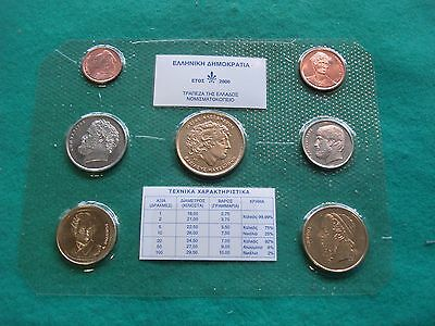 Bank Of Greece Greek Coins Full Set The Last Drachma Of 2000 Bu Freepost