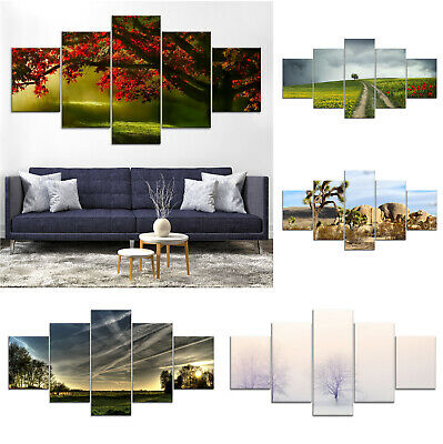 ba355e925e8 Red Tree Landscape Canvas Print Painting Framed Home Decor Wall Art Poster  5Pcs