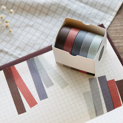 5pcs/lot 10mm*5m Solid Color Washi Tapes Scrapbooking Dairy Adhesive Tape 2019