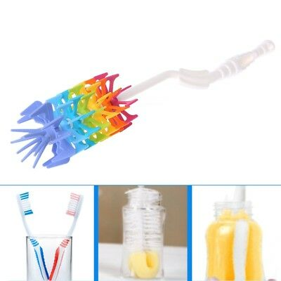 Baby Milk Bottle Brushes Soft Silicone Cleaner Detachable Rotating Long Handle