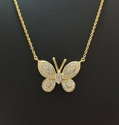 14k Yellow Gold Over Sterling Silver Butterfly Charm Pendant Chain Necklace