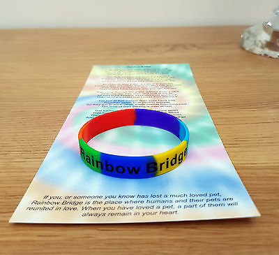 Children's Size Rainbow Bridge Wristband Pet Loss / In Memory / Dog / Cat