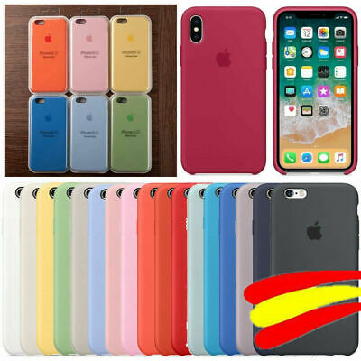 Funda para Apple iPhone X XR XS Max Original carcasas de Silicona Duro Genuina