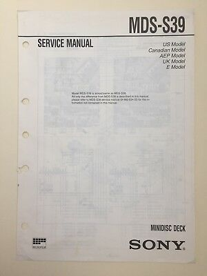 Sony MDS-S39 Service Manual (original) More Akin to a supplement to the MDS-S38