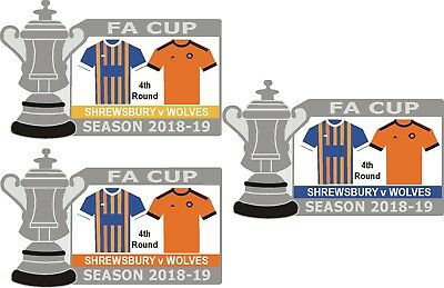 Shrewsbury v Wolves 4th Round Cup Match Badge 2018-19