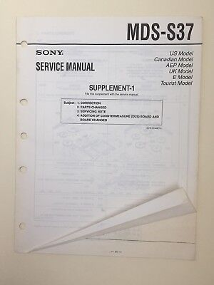 Sony MDS-S37 Service Manual Supplement Number 1 (original)