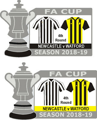Newcastle v Watford 4th Round Cup Match Badge 2018-19