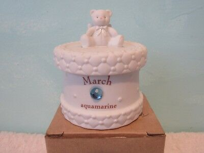 TEDDY BEAR TRINKET BOX March BIRTHSTONE AQUAMARINE- CHRISTENING FIRST TOOTH BOX