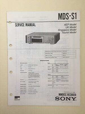 Sony MDS-S1 Service Manual Together With Supplements 1 & 2 (original Documents)