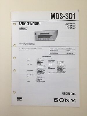Sony MDS-SD1 Service Manual (original Document Not Copy Or PDF)