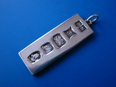 "Silver Ingot Pendant Bark Textured Back - B1977 by PM - 1.5""/4cm long - 15gm"
