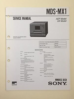 Sony MDS-MX1 Service Manual Plus Supplement 1 (original Not Copy Or PDF)