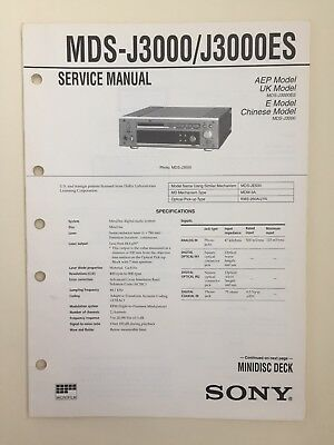 Sony MDS-J3000 J3000ES Service Manual (original Document Not Copy Or PDF)