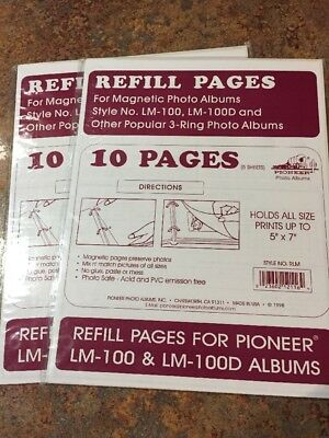 2 Magnetic Photo Album Refill Pages Pioneer Lm 100 Lm 100d Albums