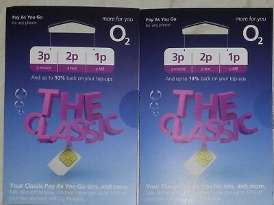 2 x OFFICIAL NEW O2 02 PAY AS YOU GO STANDARD & MICRO & NANO SIM CARDS