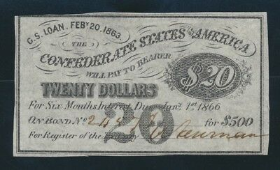 "USA: Confederate States 1863 $20 SCARCE ""INTEREST BEARING COUPON"". Due 1866"