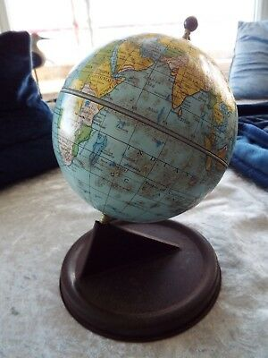 "Vintage 1950s Chad Valley Globe 9"" diameter Tin Childs World Terrestrial"