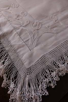 Antique large white Irish linen table topper - hand worked lace & embroidery