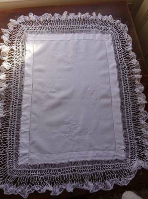 """Antique large white Irish linen table topper - hand worked  lace edge 29"""" x 36"""""""