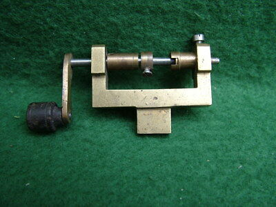 ANTIQUE BRASS CLOCK WATCH MAINSPRING WINDER with STEEL & EBONY HANDLE