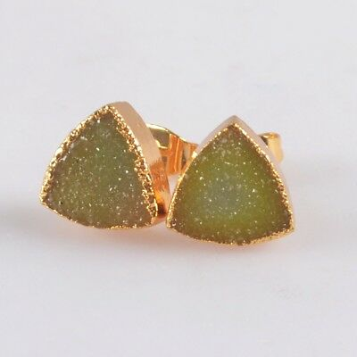 10mm Triangle Agate Druzy Geode Stud Earrings Gold Plated T073656