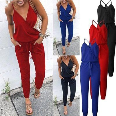 Womens Sexy Jumpsuit Romper Sleeveless Playsuit Clubwear Trousers Bodycon Pants