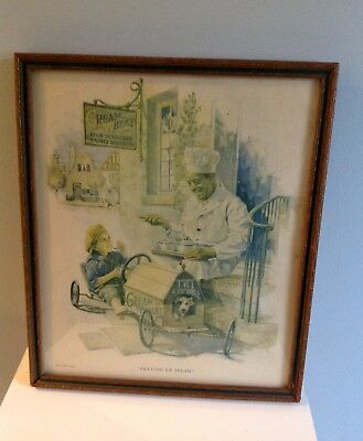 Vintage Advertising 1920's Cream Of Wheat Print in Old Frame
