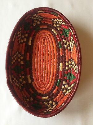 """Vintage Native Hand Woven Oval Basket Approx 13"""" x 9"""" Wall Decor Tribal"""