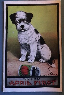"""""""April 1st"""" April Fools Day  Dog with Can of Food~A/s Wall Antique Postcard-a610"""