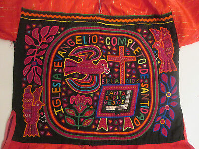 MOLA BLOUSE w 2 Christian Religious Panels Bible Cross Birds Angels c.1980?