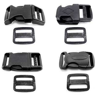 Side Release Buckle Clips and Sliders for 20 mm - Webbing Delrin Plastic