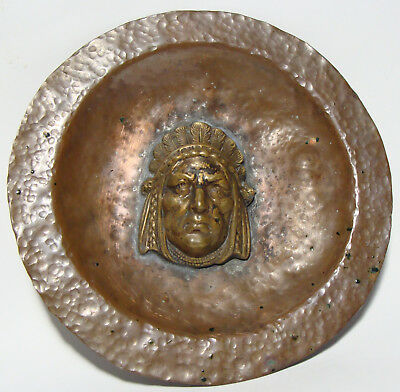 Vintage Arts & Crafts Hammered Copper Dish 3-D NATIVE AMERICAN INDIAN CHIEF