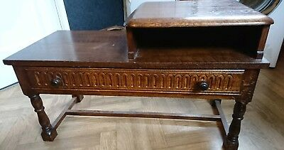 Antique Style Solid Oak Priory Hall Porch Telephone Side Table Seat