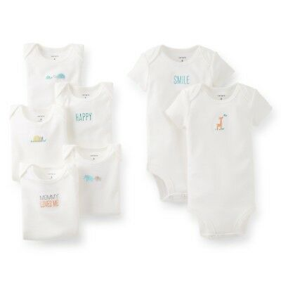 NEW NWT Girls or Boys Carters Neutral Unisex 7 Pack Bodysuits Size Newborn