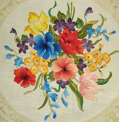 Vintage Hand Embroidered Compactly Stitched Linen Picture Floral Bouquet