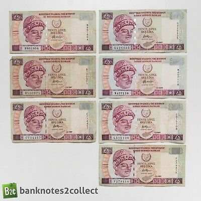 CYPRUS: 7 x 5 Cypriot Pound Banknotes.