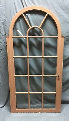 Antique Arch Top Sunburst 16 Lite Cabinet Cupboard Door Window 29X57 Vtg 60-19C