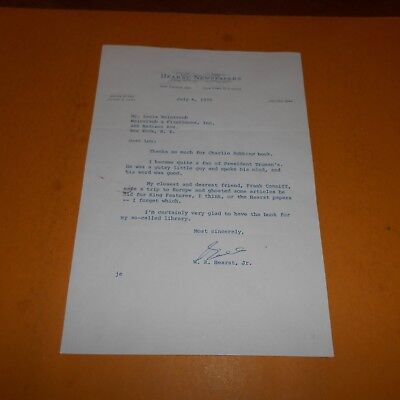 William R Hearst Jr. was an American businessman Hand Signed 7.25 x 10.5 Letter
