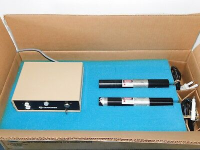 UNIPHASE 1101 & 1101P HELIUM NEON LASERS w/ (2) 1205-1 POWER SUPPLY ~ WORKS